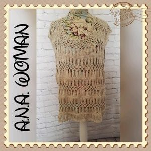 A.N.A Woman Crochet Sweater Vest